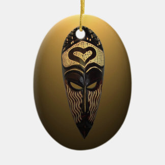 Ornamento africano del navidad de la máscara del adorno ovalado de cerámica