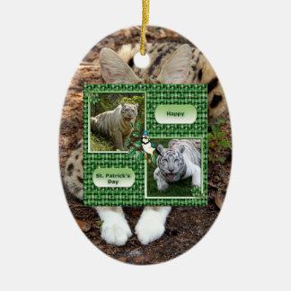 Ornamento africano del navidad del Serval Adorno Ovalado De Cerámica