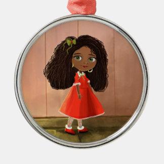 Ornamento africano lindo del chica del dibujo adorno de navidad