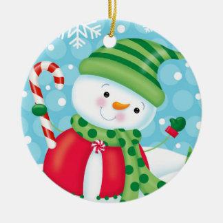 Ornamento alegre del muñeco de nieve