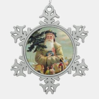 Ornamento alemán del navidad del padre del vintage adorno de peltre en forma de copo de nieve