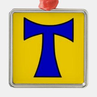 Ornamento amarillo azul de la cadena del pegatina adorno navideño cuadrado de metal