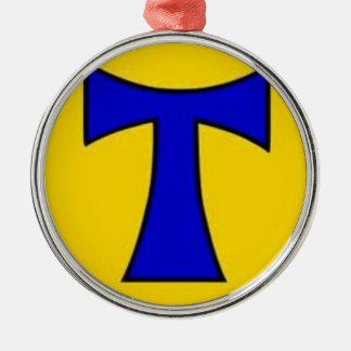 Ornamento amarillo azul de la cadena del pegatina adorno navideño redondo de metal
