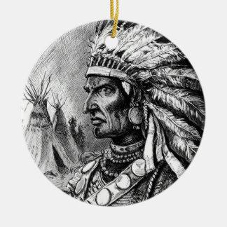 Ornamento americano del jefe indio adorno navideño redondo de cerámica