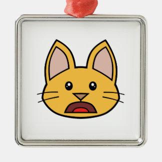 Ornamento anaranjado 01 del gato FACE0000004 Adorno Navideño Cuadrado De Metal