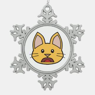 Ornamento anaranjado 02 del gato FACE0000004 Adorno De Peltre En Forma De Copo De Nieve