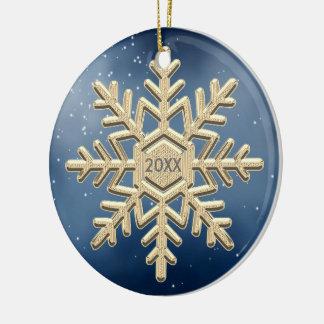 Adorno De Cerámica Ornamento anticuado del copo de nieve del navidad