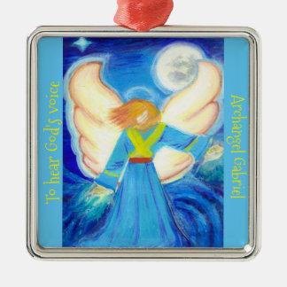 Ornamento: Arcángel Gabriel Adorno Navideño Cuadrado De Metal