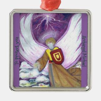 Ornamento: Arcángel Michael Adorno Navideño Cuadrado De Metal