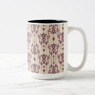 Ornamento azteca tribal étnico del vintage taza de café de dos colores
