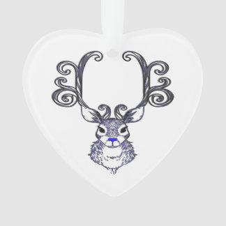 Ornamento azul del árbol de los ciervos del reno