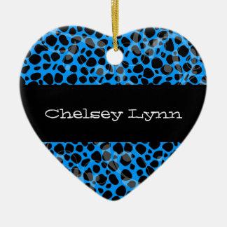 Ornamento azul del navidad de la impresión del adorno navideño de cerámica en forma de corazón