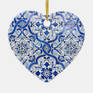 Ornamento azul del navidad del corazón de Azulejo