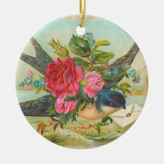 Ornamento azul del navidad del pájaro del