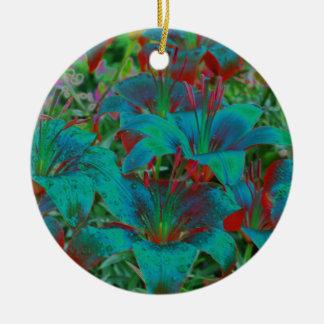 Ornamento azul eléctrico de la flor de los Daylili Ornaments Para Arbol De Navidad