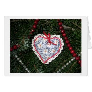 Ornamento azul hecho en casa del corazón del estam tarjeta de felicitación