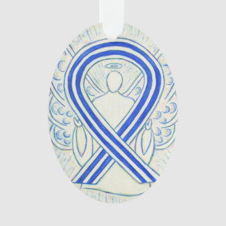Ornamento azul y blanco del ángel de la cinta de
