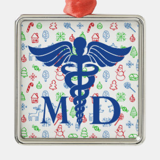 Ornamento banal del médico navidad adorno navideño cuadrado de metal