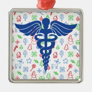 Ornamento banal del navidad médico del caduceo adorno navideño cuadrado de metal