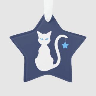 Ornamento blanco del gato