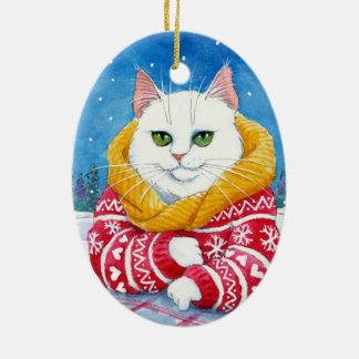 Ornamento blanco del gato del navidad