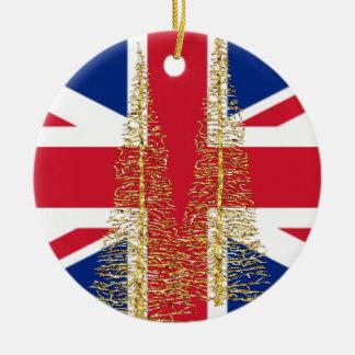 Ornamento británico inglés del navidad de la adorno navideño redondo de cerámica