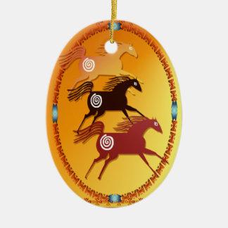 Ornamento Caballo-oval antiguo tres Adorno Navideño Ovalado De Cerámica