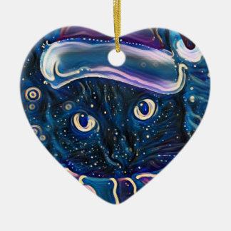 Ornamento caprichoso del navidad del gato negro