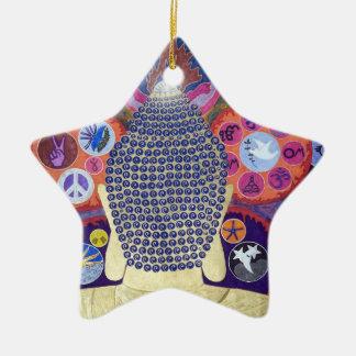 Ornamento cariñoso de la reflexión adorno navideño de cerámica en forma de estrella
