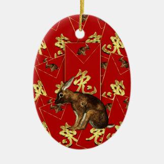 Ornamento chino del Año Nuevo - año de conejo/de Adorno Ovalado De Cerámica