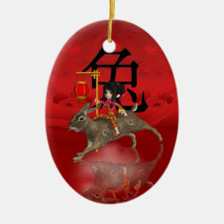 Ornamento chino del Año Nuevo, Año Nuevo 2011 Adorno Navideño Ovalado De Cerámica