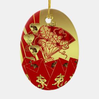 Ornamento chino del Año Nuevo - Año Nuevo chino Adorno Navideño Ovalado De Cerámica