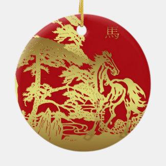 Ornamento chino del recuerdo del caballo del Año Adorno Navideño Redondo De Cerámica