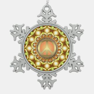 Ornamento colgante del estaño del símbolo de paz adorno de peltre en forma de copo de nieve