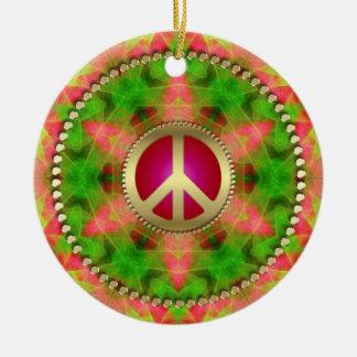 Ornamento colgante del signo de la paz maravilloso adorno navideño redondo de cerámica