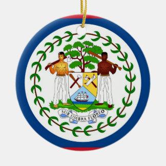 Ornamento con la bandera de Belice Adorno Navideño Redondo De Cerámica