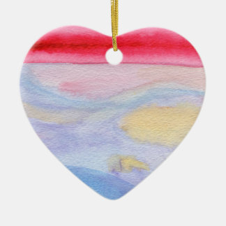 Ornamento congelado del navidad de la salida del adorno navideño de cerámica en forma de corazón