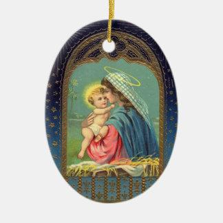 Ornamento cristiano del navidad de la natividad adorno ovalado de cerámica