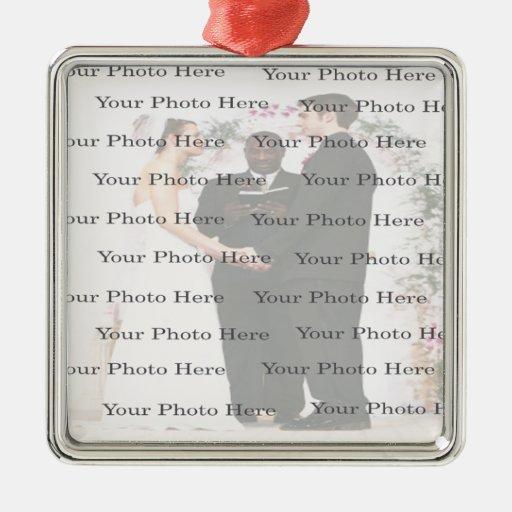 Ornamento cuadrado de encargo de la bodas de plata adorno