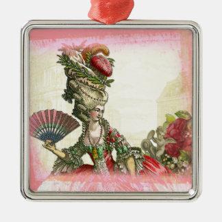 Ornamento cuadrado de Marie Antonieta Adorno Navideño Cuadrado De Metal