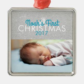 Ornamento cuadrado del primer navidad del bebé