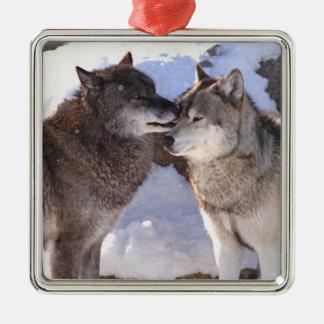 """Ornamento cuadrado superior """"beso alfa """" adorno navideño cuadrado de metal"""