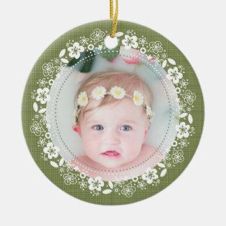 Adorno De Cerámica Ornamento cubierto de musgo de la foto del navidad