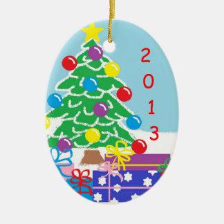 Ornamento de 2013 navidad adorno navideño ovalado de cerámica
