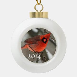 Ornamento de 2014 cardenales adorno de cerámica en forma de bola