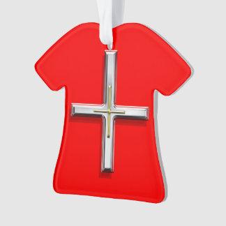 Ornamento de acrílico cruzado de la camiseta