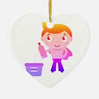 Ornamento de acrílico de los niños: con la edición adorno navideño de cerámica en forma de corazón