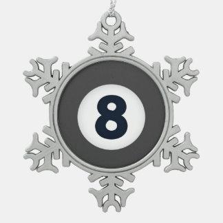 Ornamento de Billards ocho del día de fiesta del Adorno De Peltre En Forma De Copo De Nieve