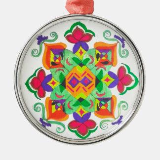 Ornamento de cerámica adorno navideño redondo de metal