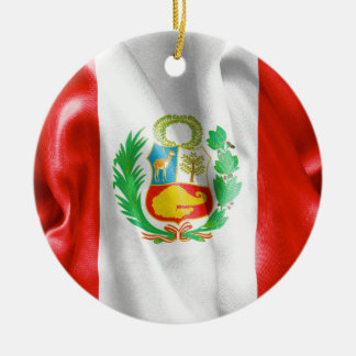 Ornamento de cerámica de la bandera de Perú